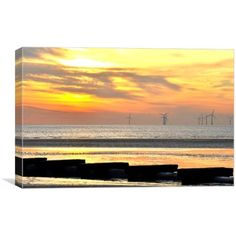 Canvas print of this is an image taken at anthony gormleys,another place in crosby liverool of the pipeline in silhouett running out to sea with the winfarm to the right The Pipeline, Out To Sea, Art For Sale, Art Pieces, Canvas Prints, Sunset, Beach, Water, Places