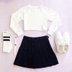 white sweater//black shirt//white shoes//white watch//white and black knee-high socks