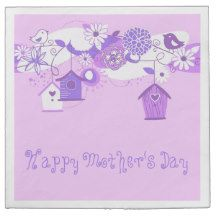 Pink/Purple Birds/Bird Houses Mothers Day Napkins