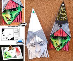 3D Witch  paper folding http://krokotak.com/2013/10/3d-veshtitsa-shablon-za-razpetchatvane/
