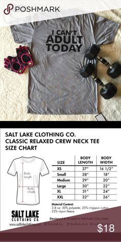 T-SHIRT Comfy relaxed fit crew neck t-shirt.  Gray with black lettering.  40% Polyester, 60% Cotton. Salt Lake Clothing Tops Tees - Short Sleeve