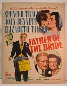 Father of the Bride is a 1950 American comedy film about a man trying to cope with preparations for his daughter's upcoming wedding. The movie stars Spencer Tracy in the titular role, Joan Bennett, Elizabeth Taylor, Don Taylor, Billie Burke, and Leo G. Carroll. It was adapted by Frances Goodrich and Albert Hackett from the novel by Edward Streeter, and directed by Vincente Minnelli.