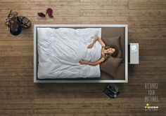 """""""Recharge your batteries,"""" says this aerial view ad for Riposa – a Swiss bed company focused on healthy sleep."""