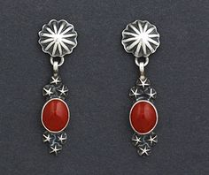 Silver & Coral Earrings by Geneva Apachito (Navajo)