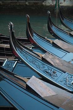 Gondolas Lined Up, Venice, Italy