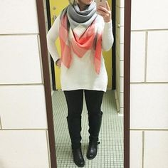 Blanket scarf. Sweater tunic. Boots. Winter style. ONETEACHERSSTYLE. Teacher style. Teacher fashion. Teacher chic.