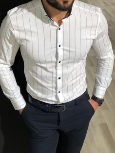 Collection: Spring – Summer 19 Product: Slim Fit Striped Shirt Color Code: White Shirt Material: cotton, elestan Available Size: S-M-L-XL-XXL Machine Washable: Yes Fitting: Slim-Fit Package Include: Shirt Only Formal Dresses For Men, Formal Men Outfit, Formal Shirts For Men, Formal Outfits, White Shirts For Men, Casual Outfits, Indian Men Fashion, Mens Fashion Suits, Trendy Mens Fashion