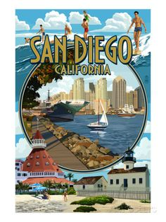 San Diego, California Montage Print by Lantern Press at AllPosters.com