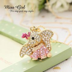 Rhinestone Elephant Necklace