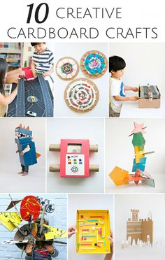 10 Creative Cardboard Crafts for Kids #KidsCrafts #cardboard #recycledcraft