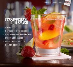 Strawberry Rum Smash recipe: The perfect summer cocktail. Mix Atlantico Platino Rum, lemon juice and agave nectar, and top with mint leaves, strawberries and lemon squeezes.