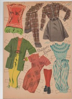 The clothes below belong to the Doris Day paper doll set by Whitman, 1955. It is booklet #1952. Go here for the first post.
