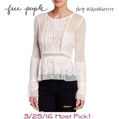 """Host Pick NWT Free People lace button blouse Brand new with tags: The perfect spring top! Free People blouse has soft eyelash ivory lace that embellishes this sheer peplum top with Round neck, Long bell sleeves & Button placket. Measures about 22"""" from shoulder to hem. Such a beautiful feminine top. Please read my 'about me' closet policies prior to any offers/inquiries. Free People Tops Blouses"""