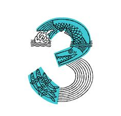 Graphic illustration of the number 3 Inspiration Typographie, Typography Inspiration, Graphic Design Inspiration, Typography Letters, Graphic Design Typography, Lettering Design, Number Typography, Modern Typography, Typography Logo