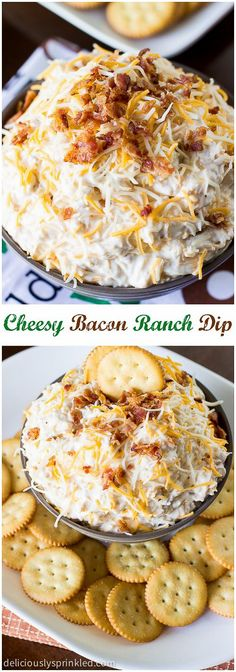 A recipe for Cheesy Bacon Ranch Dip. A perfect football party dip that everyone will love. A recipe for Cheesy Bacon Ranch Dip. A perfect football party dip that everyone will love. I Love Food, Good Food, Yummy Food, Tasty, Delicious Recipes, Yummy Appetizers, Appetizer Recipes, Party Appetizers, Dip Recipes
