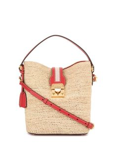 Shop Mark Cross Murphy Raffia Bucket Bag In Brown from stores. Brown Murphy raffia bucket bag from Mark Cross featuring a foldover top with flip-lock closure, a top handle and gold-tone hardware. Mark Cross, Leather Tassel, Straw Bag, Classic Style, Bucket Bag, Shoulder Strap, Women Wear, Brown, Hand Bags