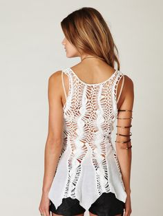 Hairpin 'Crochet Tank', from Free People. Fabric godet panels at the waist make it flared, with a flowing handkerchief hem. 100% Cotton.   https://s-media-cache-ak0.pinimg.com/originals/bc/82/a3/bc82a3145b22baf21ee2146d11c5f92b.jpg https://s-media-cache-ak0.pinimg.com/originals/79/72/86/797286b6a53fd2408c8256866577a00b.jpg https://s-media-cache-ak0.pinimg.com/originals/7e/cd/da/7ecdda7b52bb4e19be9e99d06e8a1747.jpg