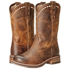Ariat Unbridled Roper (Distressed Brown) Cowboy Boots ($140) ❤ liked on Polyvore featuring shoes, boots, distressed brown, distressed boots, distressed cowgirl boots, round toe cowgirl boots, long boots and distressed brown boots