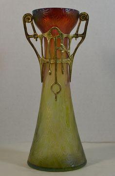 Rindskopf Pepita Vase in Art Nouveau Mount, 9In tall.