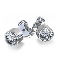 round bezel earrings