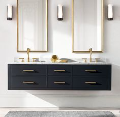 RH's Hutton Double Floating Vanity Base:This versatile collection brings a spare, Parsons-like sensibility to the bath. Vanity Light Fixtures, Bathroom Vanity Lighting, Bathroom Storage, Bathroom Organization, Modern Vanity Lighting, Bathroom Mirrors, Bathroom Cleaning, Bathroom Baskets, Bathroom Tray