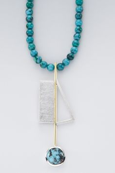 NECKLACE - STERLING SILVER, 18K, CHINESE TURQUOISE