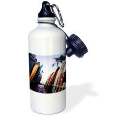 3dRose Surf Board, Sports Water Bottle, 21oz