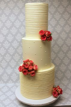 Don't be afraid to have fun with textures on your wedding cake! Swiss Dot, Custom Cakes, Icing, Wedding Cakes, Urban, Rustic, Creative, Desserts, Fun