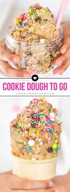 Edible Cookie Dough Cones And Cookie Dough Recipes. Unicorn Cookie Dough With Sp… Edible Cookie Dough Cones And Cookie Dough Recipes. Unicorn Cookie Dough With Sprinkles! Cookie Dough Recipes, Edible Cookie Dough, Baking Recipes, Cookie Dough Bars, Eggless Dough Recipe, Cookie Recipie, Monster Cookie Dough, Cookie Dough To Eat, Cookie Dough Cupcakes