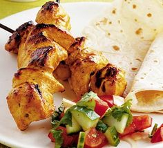 Chicken tikka kebabs with Indian salad - this salad is amazing with any curry too!