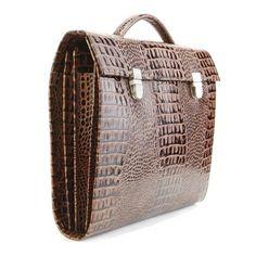 LUXURY PORTFOLIO Case! Natural leather- Caiman texture bag, Business handbag, men handbag,leather portfolio bag,Luxury leather portoflio bag