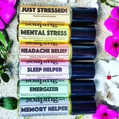 FULL SET aromatherapy oils by CakeFaceSoaping.com on Etsy. Sleep help, stress relief, pain relief, worry and anxiety relief, energy booster, and memory booster all with aromatherapy!