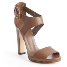 Gucci Maple brown leather bamboo buckle heel sandals found on Polyvore