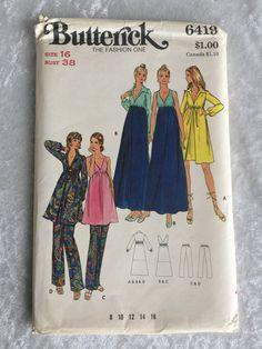 Vintage Butterick Pattern 6419 Robe, Gown, Pants  Misses Size 16 NOS