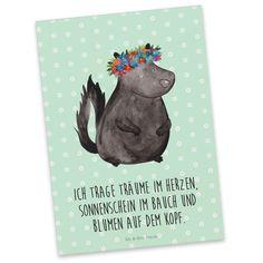 Postkarte Stinktier Blumenmaedchen aus Karton 300 Gramm  weiß - Das Original von Mr. & Mrs. Panda.  Jedes wunderschöne Motiv auf unseren Postkarten aus dem Hause Mr. & Mrs. Panda wird mit viel Liebe von Mrs. Panda handgezeichnet und entworfen.  Unsere Postkarten werden mit sehr hochwertigen Tinten gedruckt und sind 40 Jahre UV-Lichtbeständig. Deine Postkarte wird sicher verpackt per Post geliefert.    Über unser Motiv Stinktier Blumenmaedchen  Diese Kollektion widmen wir Herrn Blume, dem…