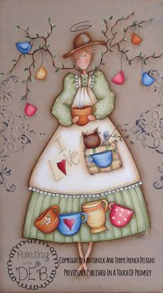 """Coffee Angels by Deb Antonick, E-Pattern - Previously Published in """"A Touch of Primsey"""" Decoupage Vintage, Decoupage Paper, Country Crafts, Country Art, Painting For Kids, Painting On Wood, Primitive Painting, Tole Painting Patterns, Country Paintings"""