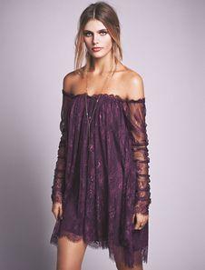 Lilac Lace Dress Off The Shoulder Long Sleeve Semi-Sheer Irregular Short Dress