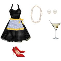 A fashion look from October 2015 by featuring Christian Dior, STELLA… 1950 Costumes, Nerd Costumes, 50s Costume, Hippie Costume, Dress Up Costumes, Diy Costumes, Halloween Costumes, Vampire Costumes, Halloween 2016