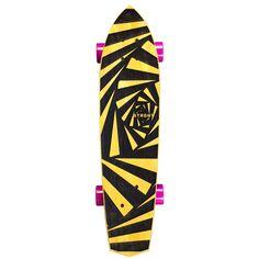 Hand-carved skateboard // Diamond Tail Cruiser Skateboard in Yellowheart - Webby Design