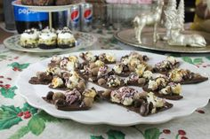 Chocolate Bark with Nut Harvest Chocolate Covered Toffee Almonds and Nut Harvest Milk Chocolate Covered Peanuts plus some Smartfood Popcorn- Raspberry & Dark Chocolate ~ Frito Lay White Elephant Exchange Party ~ MissintheKitchen.com #ad