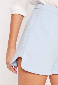 Missguided - Step Hem Runner Style Tailored Shorts Blue