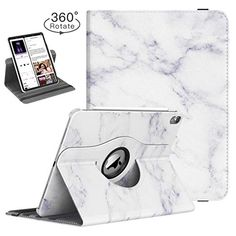 TiMOVO Folio Case for iPad Pro Inch 2018 - [Support Apple Pencil Charging] 360 Degree Rotating Smart Leather Stand Cover with Auto Sleep/Wake for Apple iPad Pro 2018 - White Marble Ipad Pro 12 9, Facetime, White Marble, Protective Cases, Ipad Case, Apple Ipad, Sleep, Leather
