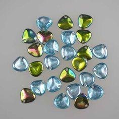 Czech glass rose petals in Aqua Vitrail, 8mm x 7mm. Petal-shaped drop beads, part transparent turquoise blue, part metallic iris rainbow finish. UK seller.