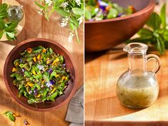 Snap pea salad with lentils, mint, and edible flowers with a garlic scape vinaigrette