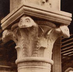 Venice, Italy - The capitals on the columns at the Rialto fish market