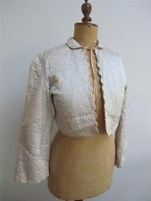 VINTAGE 1930's QUILTED PALE BLUE & PEACH SATIN BED BOUDIOR JACKET