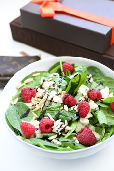 {5 Day} Skinny Bunny Cleanse - Meal 3 - Spinach salad with egg whites, almonds, and raspberries, tossed in a citrus balsamic.