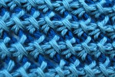 Close up of Tunisian Bamboo Stitch, used to create this great hat...by The Laughing Willow.  Pattern and links to videos!