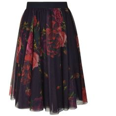 Ted Baker Ondra Rose Tutu Skirt (390 BRL) ❤ liked on Polyvore featuring skirts, oxblood, tutu skirts, rose skirt, mesh midi skirt, calf length skirts and ted baker skirt