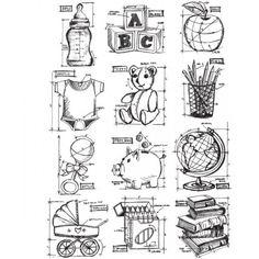 CraftySaver.com :: Stampers Anonymous - Tim Holtz -Mi ni Blueprints #8 Stamp Set (CMS231)